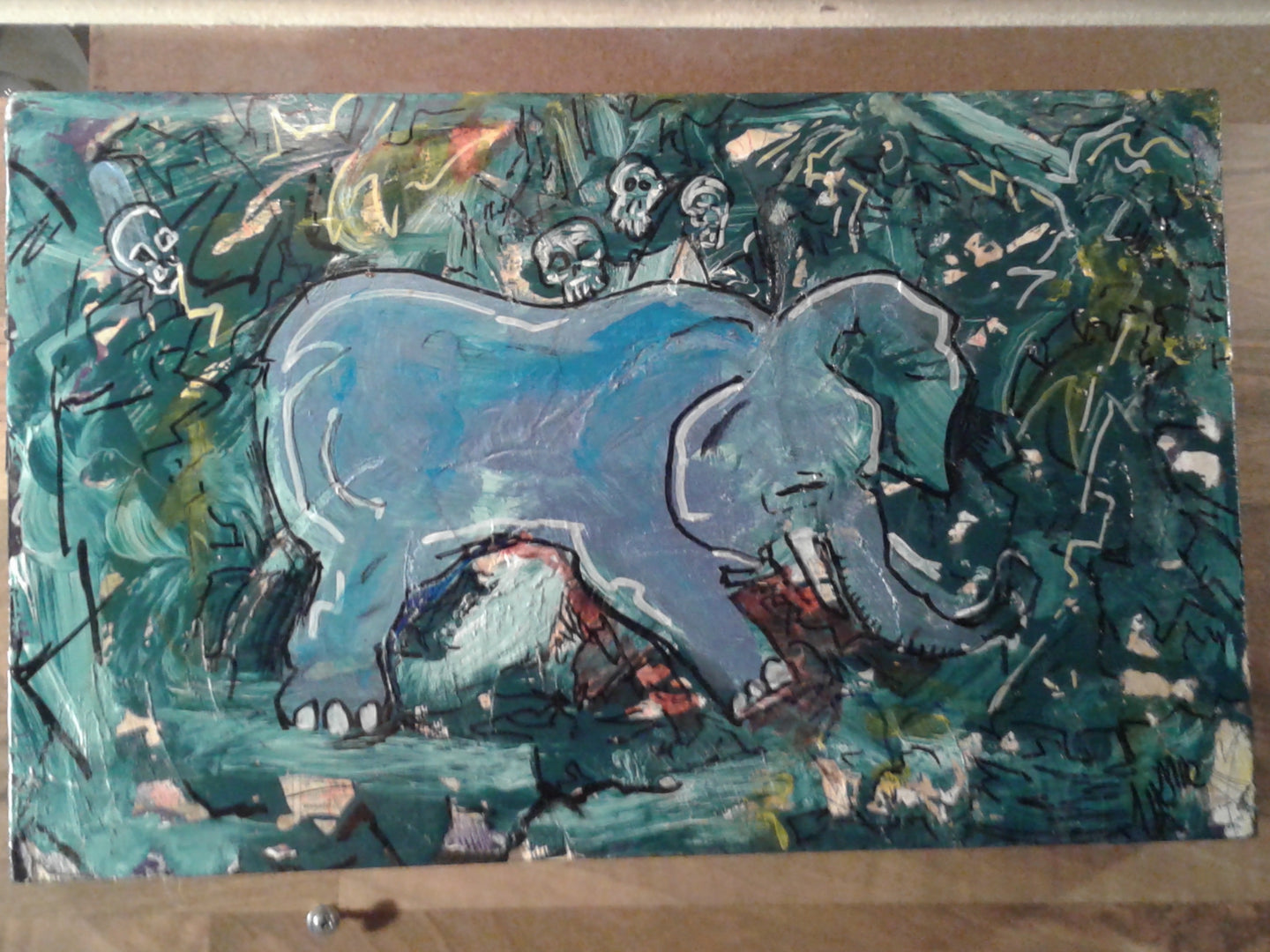 Original 10x16 blue elephant