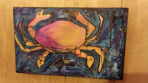 Stars and surf Original crab painting 10x16