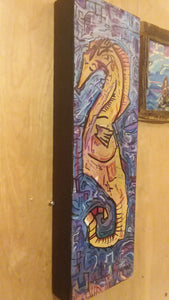 Original 5x16 seahorse  built wood panel
