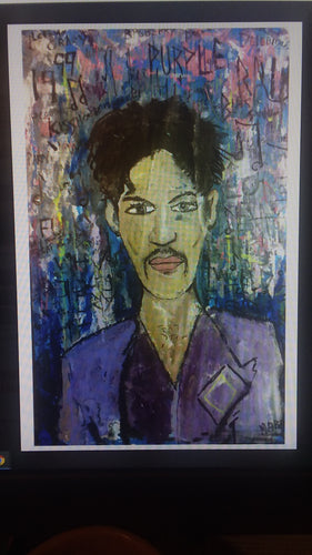 Signed  11x17 prince and the purple rain  print by mark Herbert