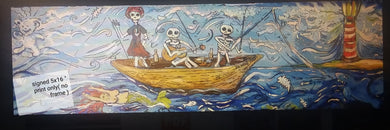 5x16 signed paper print in poly bag Ship of fools fishing with the dead