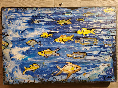 24x16 original fish on built wood panel ready to hang