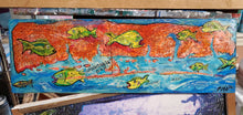 Load image into Gallery viewer, Original 7x 24 wrightsville beach mixed media map art