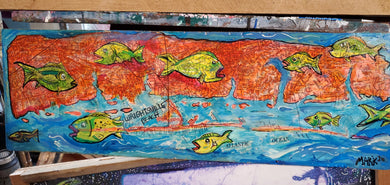 Original 7x 24 wrightsville beach mixed media map art