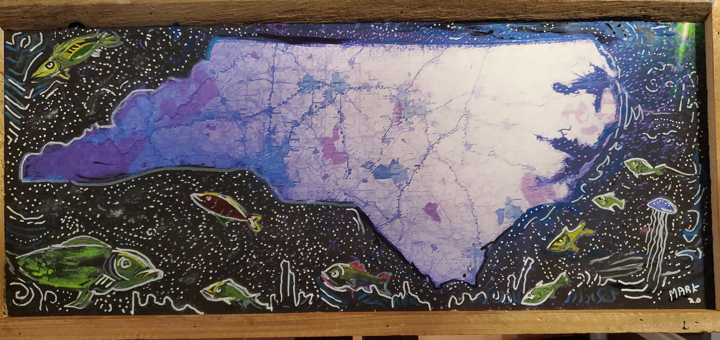 Stars over NC map art embellished mixed media original