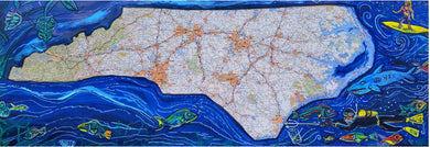 NC hop surf mixed media map art print s