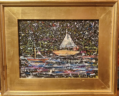 Flotilla nights wrightsville  beach original small painting