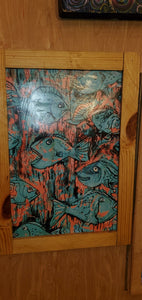 "Turquoise fish 12x18 "" framed clearance sale scratch and dent"