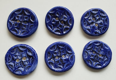 6  1 inch hand made ceramic buttons blue