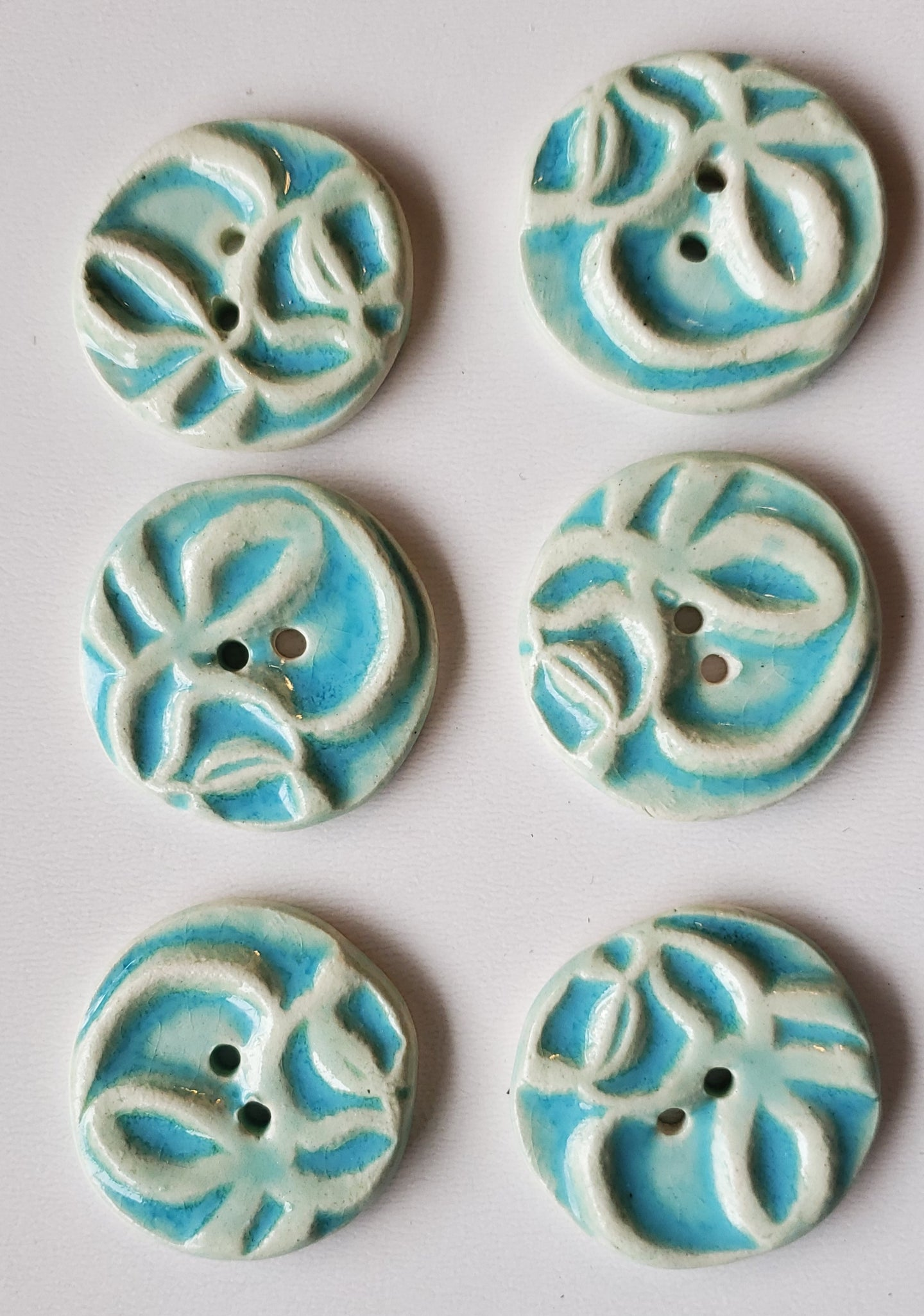 6  1 inch hand made ceramic buttons turquoise