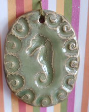 Load image into Gallery viewer, 2 inch ceramic seahorse pendant