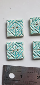 6 minty squares ceramic 1 inch buttons