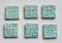 Load image into Gallery viewer, 6 minty squares ceramic 1 inch buttons