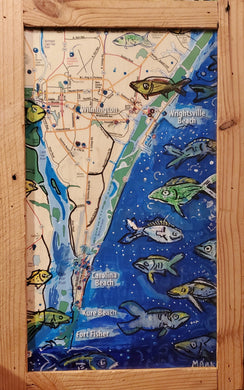 12x18 Wilmington fish map artwork original