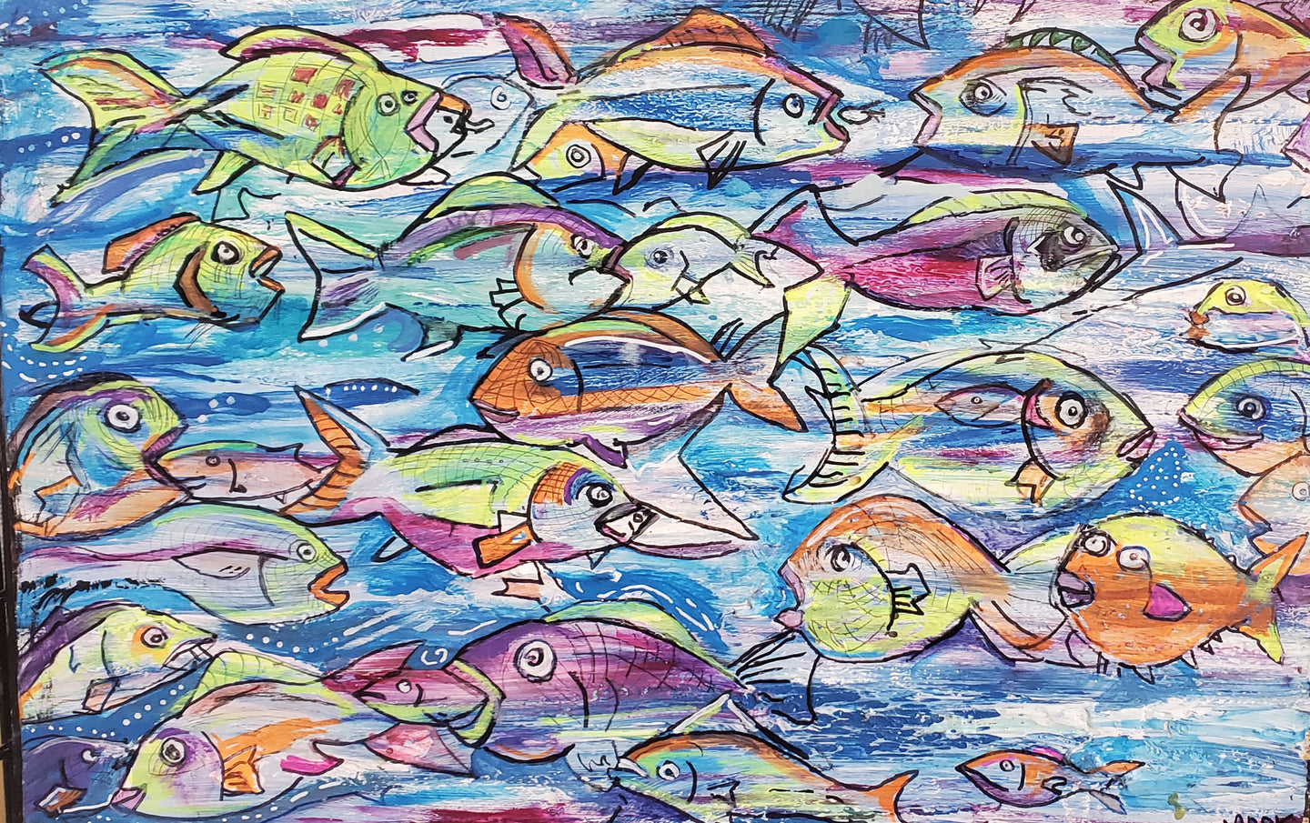 Orginal neon fish school