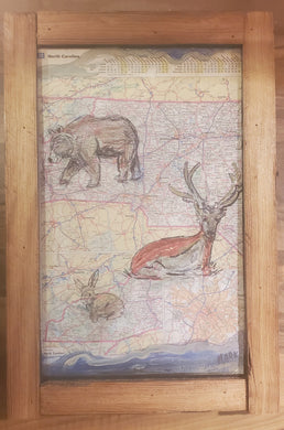 western nc 12x18 framed map art primt