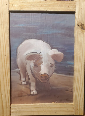 little pig on stormy day