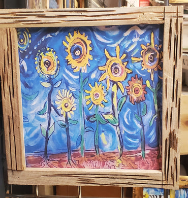 framed print sunflower folk art 12