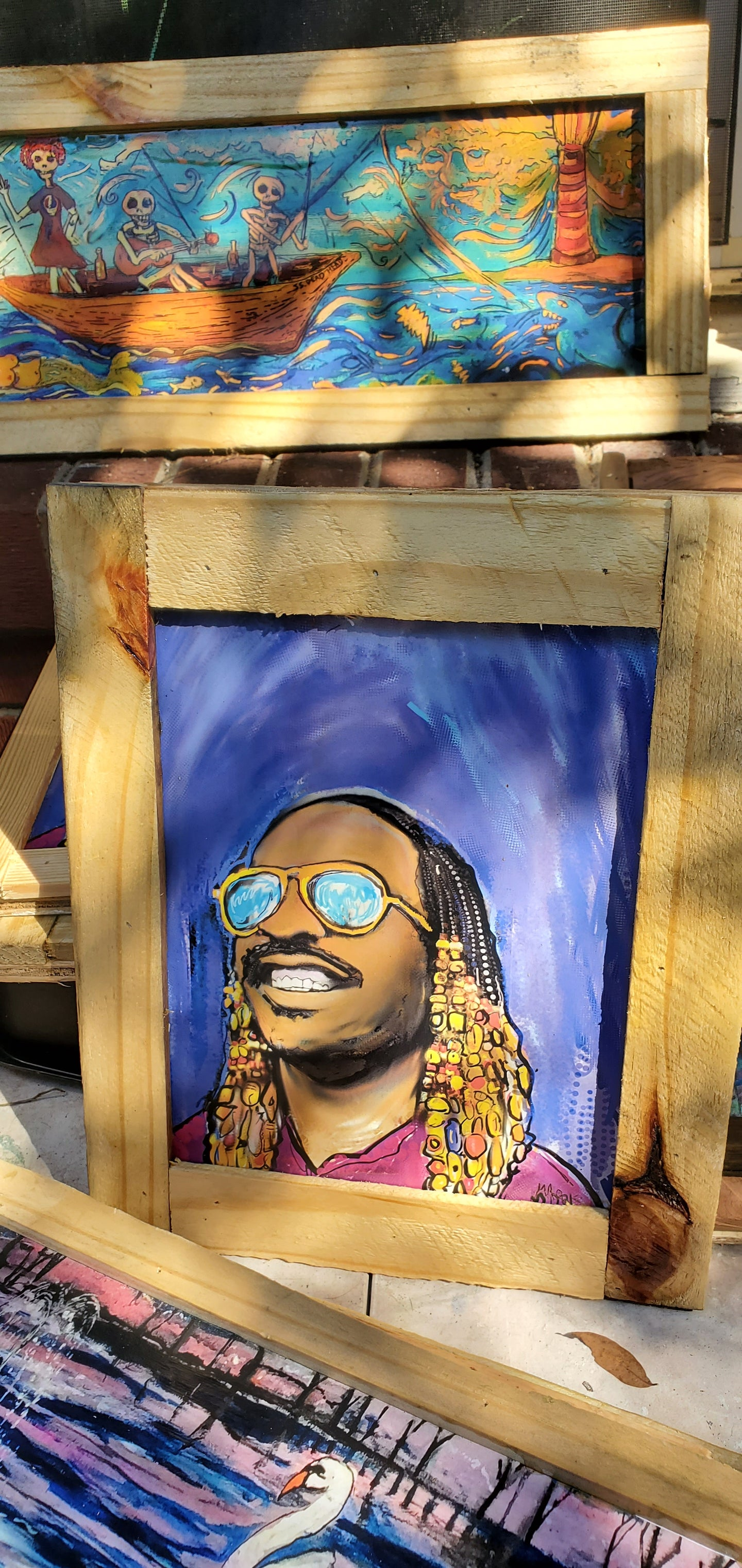 Stevie Wonder framed glazed digital mixed media print