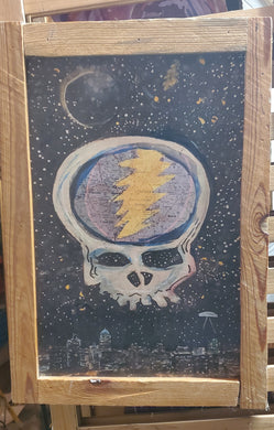 framed embellished 12x18 charlotte dead head