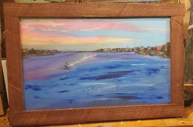 Wrightsville causeway mixed media embellished framed 12x 18