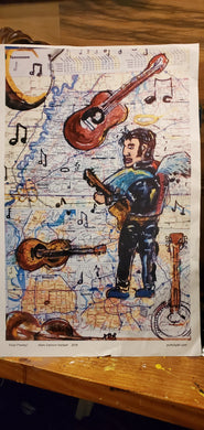 graceland elvis map unframed 11x17