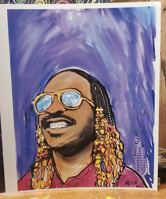 stevie wonder  digital  art 8x10 print signed