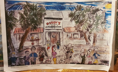 11x17 signed paper print buddys wrightsville beach