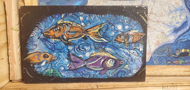 original fish painting 16x10 built   wood panel ready to hang