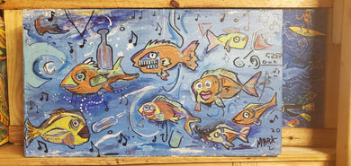 original fish painting 12z18  wood panel ready to hang