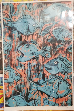 11x17 paper print turquoise fish  (unframed)