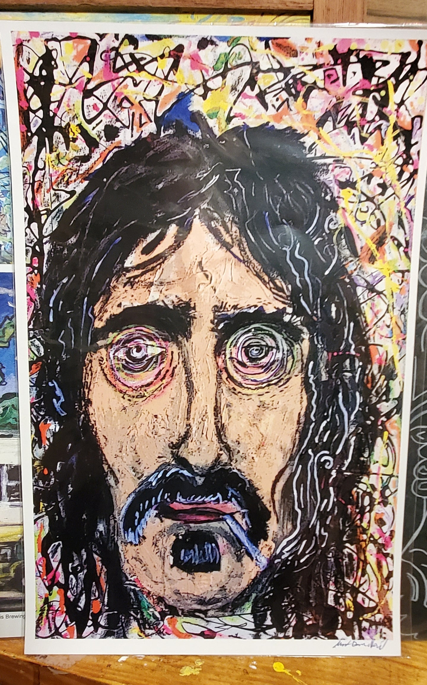 unframed signed paper print 11x18 zappa