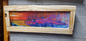 "Pink sunset gator scratch and dent clearance 18"" x6"" framed"