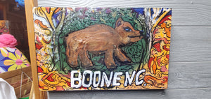 original 10x16 mixed media boone bear