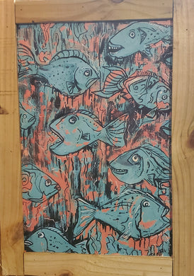 turquoise fish 12×18 framed ready to hang