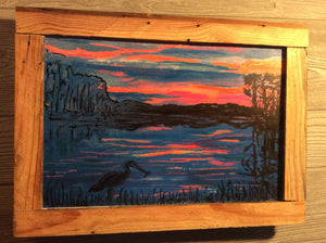 "Sun set on cape fear embellished framed print ready to hang 18"" x 12"""