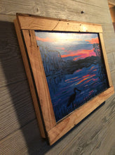 "Load image into Gallery viewer, Sun set on cape fear embellished framed print ready to hang 18"" x 12"""