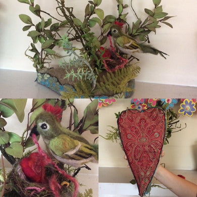 One of a kind multimedia/ fabric bird sculpture