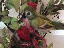 Load image into Gallery viewer, One of a kind multimedia/ fabric bird sculpture