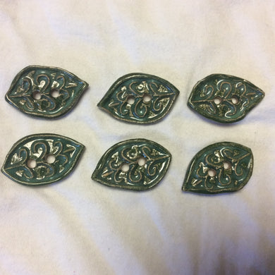 6 Ceramic Leaf buttons