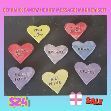 8 ceramic  heart magnets sale priced