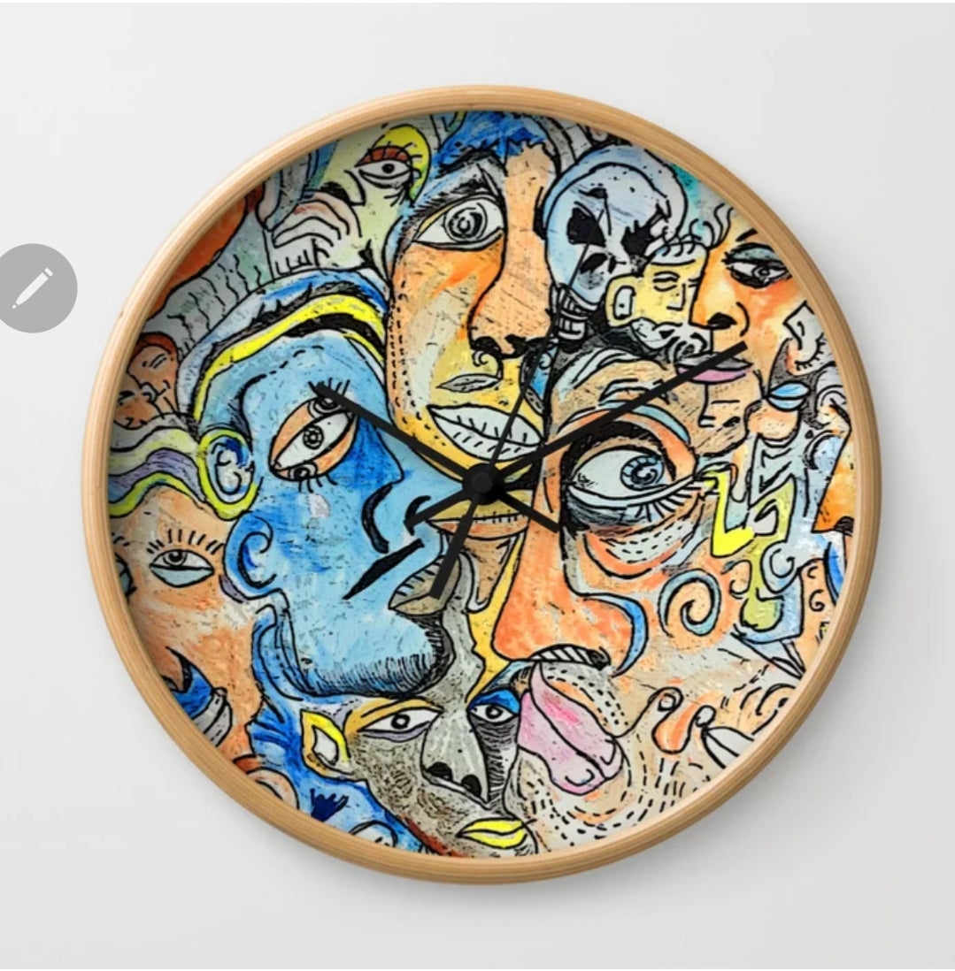 Collectors  clock hand embellished by artist