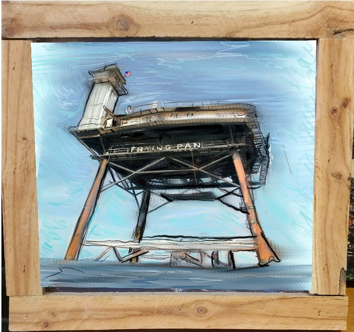 frying pan tower signed framed print