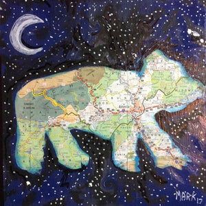 Starry Asheville bear map art framed print