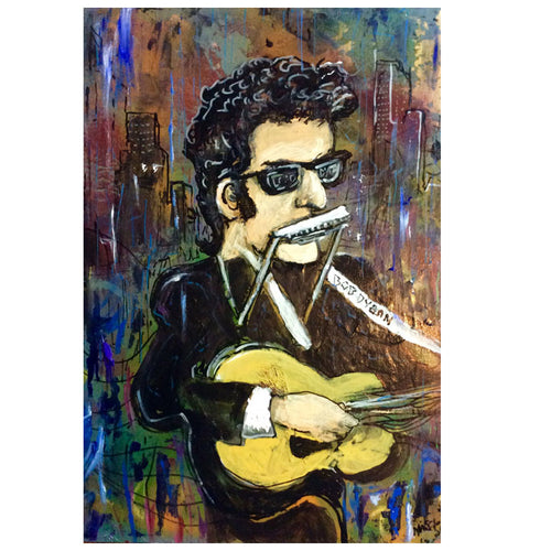 Bob Dylan  print by Mark Herbert signed in poly bag 11x17