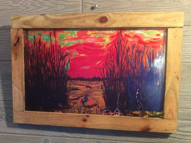 marsh crabs fire sunset on cape fear 12 x18