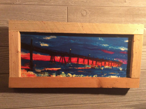 17x7 framed Johnny Mercer's pier  Wrightsville beach print