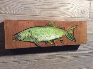 Green fish 5x16 Original painting by Mark Herbert