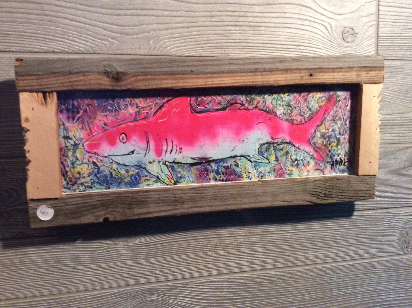 Pink shark framed print
