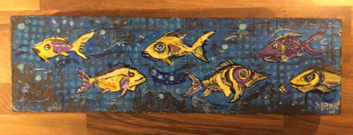 7x24 original fish painting by mark herbert
